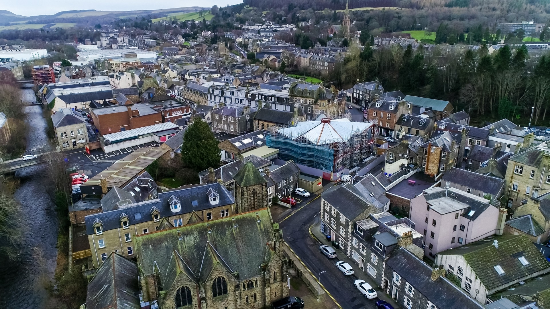 Aerial view of Galashiels ' new Great TApestry of Scotland Centre
